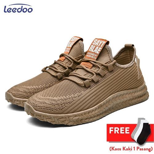 Foto Produk Leedoo Sepatu Pria Sepatu Olahraga Sepatu Sneakers Fashion Pria MR109 - Coklat, 39 dari Leedoo