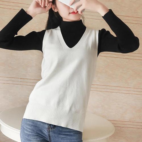 Foto Produk JCFashion Woman Knit Vest Vneck - Rompi Rajut Wanita Ina - Putih, L dari JC-Fashion