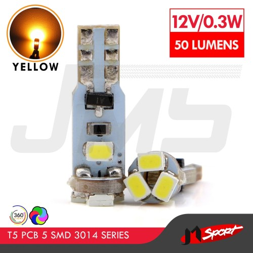 Foto Produk Lampu LED Mobil / Motor Speedometer Dashboard T5 PCB 5 SMD 3014 Yellow dari Jaya Motorsport