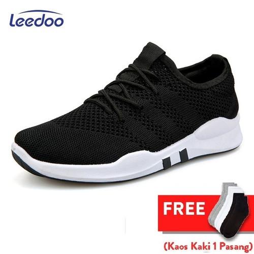 Foto Produk Leedoo Sepatu Sneakers Pria Import Running Shoes Young Lifestyle EE01 - Hitam, 39 dari Leedoo