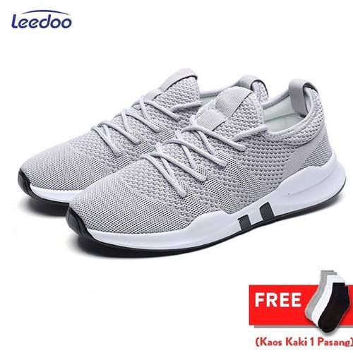 Foto Produk Leedoo Sepatu Sneakers Pria Import Running Shoes Young Lifestyle EE01 - Abu-abu, 40 dari Leedoo