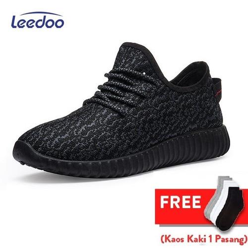 Foto Produk Leedoo Sepatu Sneakers Pria Import Running Shoes Young Lifestyle MR207 - Hitam, 39 dari Leedoo
