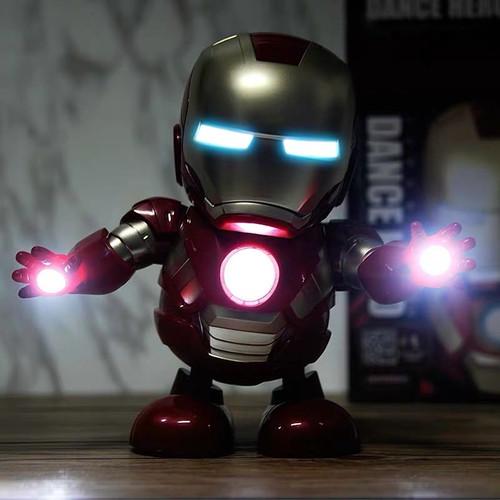 Foto Produk Mainan Robot Dance Super Hero Musik dan LED / Bumblebee / Iron Man - M - Merah dari Toko No.7