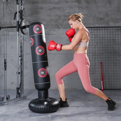 Foto Produk 【Promo】Inflatable Boxing Bag Training Exercise Punching Stand - Black 1.6m dari Fixbeli