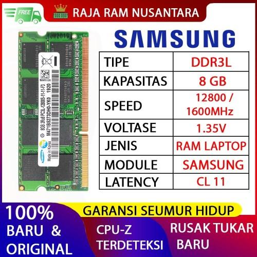 Foto Produk [BARU] RAM / MEMORY SAMSUNG NOTEBOOK / LAPTOP DDR3L 8GB dari RAJA RAM NUSANTARA