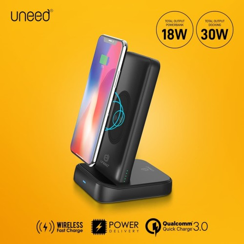 Foto Produk UNEED Wireless Fast Charge Powerbank 10000mah QC 3.0 + PD with Docking dari Uneed Indonesia