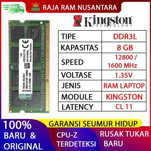 Foto Produk RAM LAPTOP KINGSTON DDR3L 8GB 12800/1600MHz ORI RAM SODIMM 1.35v 8GB dari RAJA RAM NUSANTARA
