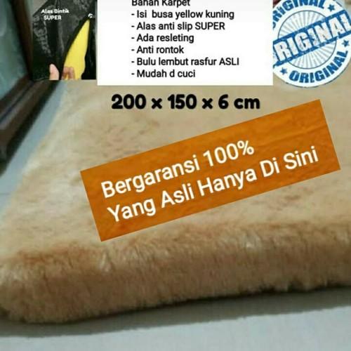 Foto Produk Karpet bulu SUPER 200 X 150 CM TEBAL6 CM Anti Slip bintik - maroon dari BROUMmedia