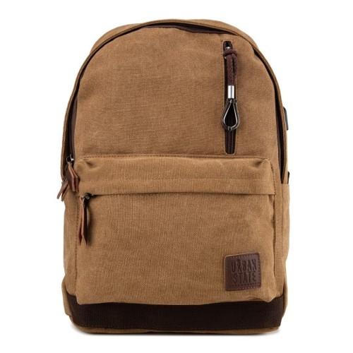 Foto Produk Urban State - Canvas PU Zipper Backpack - Brown dari Urban State