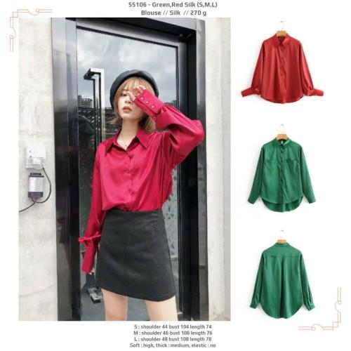 Foto Produk 55106 Green Red Silk Blouse / Blouse Hijau Merah Lengan Panjang dari XineShop