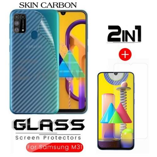 Foto Produk Tempered Glass Samsung M31 Paket Back Skin Carbon Transparant dari FahryOneMore