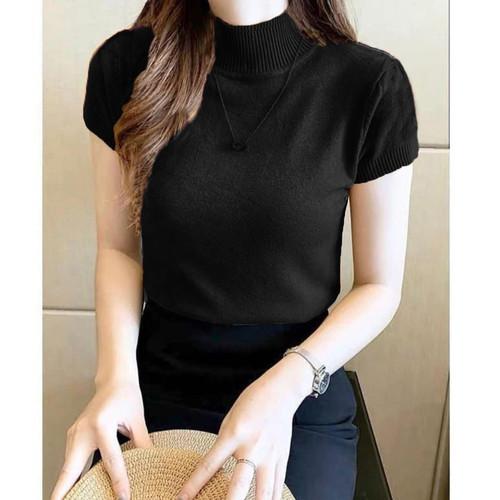 Foto Produk BJD - Atasan Wanita Model Turtleneck Lengan Pendek Nadira - Hitam dari Beli Jeans Disini
