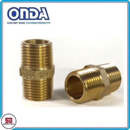 "Foto Produk ONDA Double Nipple Nepple Brass Sambungan Pipa Drat Luar Kuningan 1/2"" dari Sadar Jaya Mandiri"