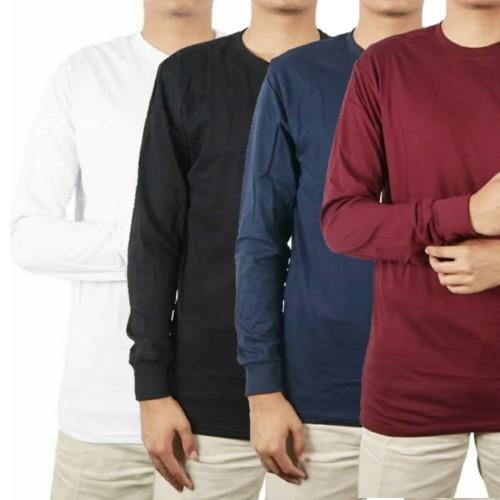 Foto Produk Kaos Polos Panjang Lengan ( RIB/KARET) 100% Cotton Combed 30S Pria - Putih, S dari Blackhat Project