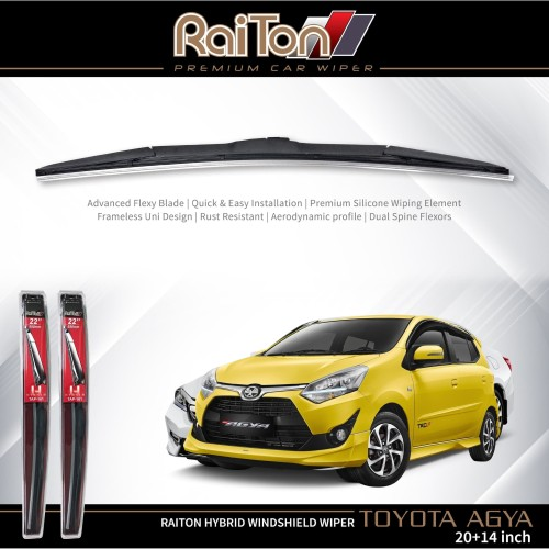 "Foto Produk Raiton Wiper Hybrid Sepasang Kaca Depan Mobil Toyota Agya 20"" & 14"" dari Raiton"