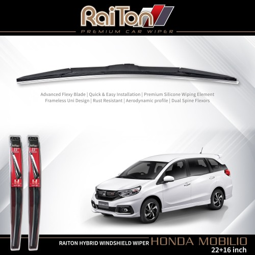 """Foto Produk Raiton Wiper Hybrid Sepasang Kaca Depan Mobil Honda Mobilio 22"""" & 16"""" dari Raiton"""