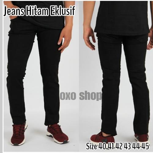 Foto Produk Celana Jeans Eklusif Slimfit Pria Ukuran Besar 41 -45 - Hitam, 41 dari oxo shop