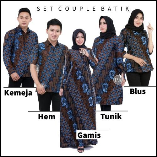 Foto Produk Baju Couple Sarimbit Batik Keluarga Seragam Kantor - Seno Biru - Hem dari Jejee ID