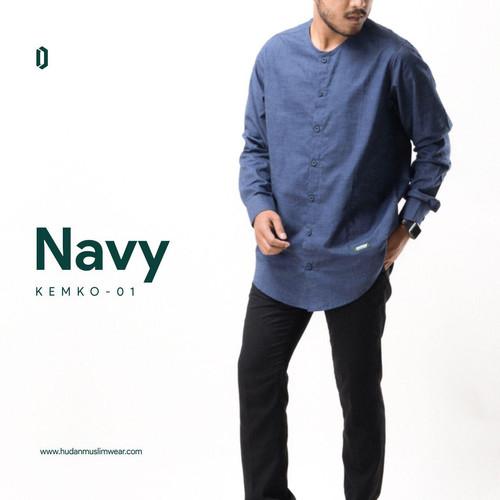 Foto Produk Kemeja Koko Lengan Panjang hudan muslim wear navy - M dari Hudan Muslim Wear