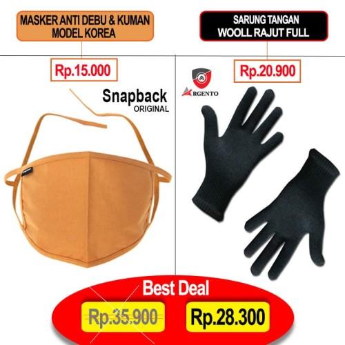 Foto Produk Masker Mulut Motor Anti Debu Bakteri Snapback & Sarung Tangan Argento dari TDC Variasi