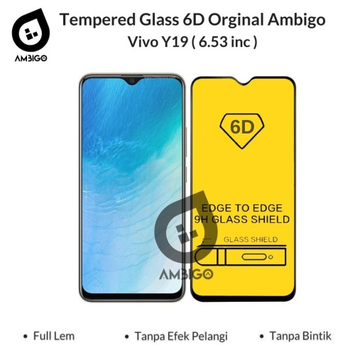 Foto Produk Tempered Glass 6D VIVO Y19 Full Cover Color Ambigo Full Glue - Hitam dari Jagonya Case