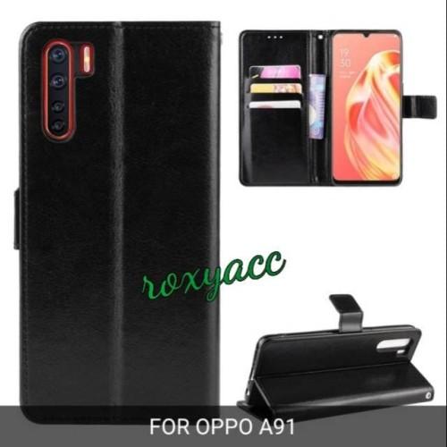 Foto Produk flip case cover Oppo a91 case dompet sarung a91 wallet kulit dari yalen shop