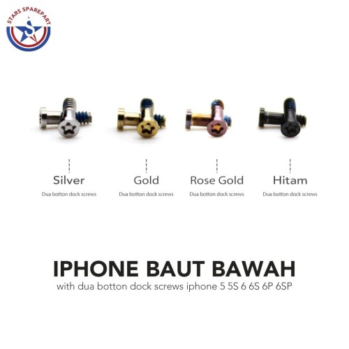 Foto Produk Baut Bawah iPhone 5/5S /6/6S/6 Plus/6S Plus Dua Button Dock Screws - Merah Muda dari Stars Sparepart
