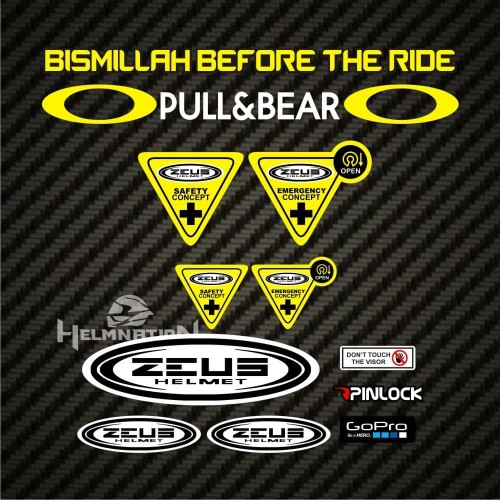 Foto Produk Paket Stiker Visor Helm Bismillah Before The Ride ZEUS NOLAN HJC dari Stiker Kingdom