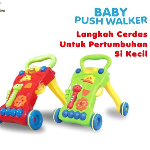 Foto Produk baby push walker/alat bantu jalan bayi/mainan bayi - Merah dari HM (hamanda) toys