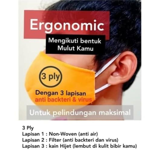 Foto Produk masker mulut 3 ply bisa dicuci dari Glodok Jaya Safety