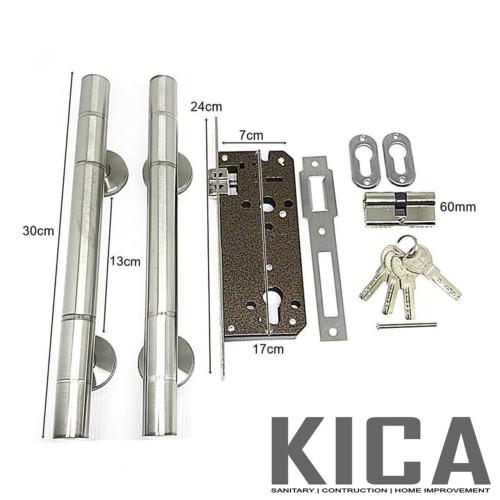 Foto Produk 1 Pasang Gagang Pintu Stainlees + 1 Set Body Kunci Pelor dari Kian Citra Abadi