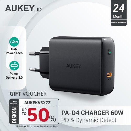 Foto Produk Aukey Charger 60W PD with GaN Power Tech - 500395 dari AUKEY