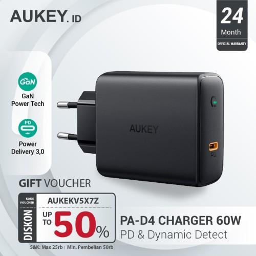 Foto Produk Aukey Charger 60W PD with GaN Power Tech - 500395 dari AUKEY