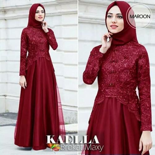 Foto Produk Baju Gamis Syari Wanita Terbaru Kaella Brokat Maxi Dress Termurah dari Fadhilah olsoff
