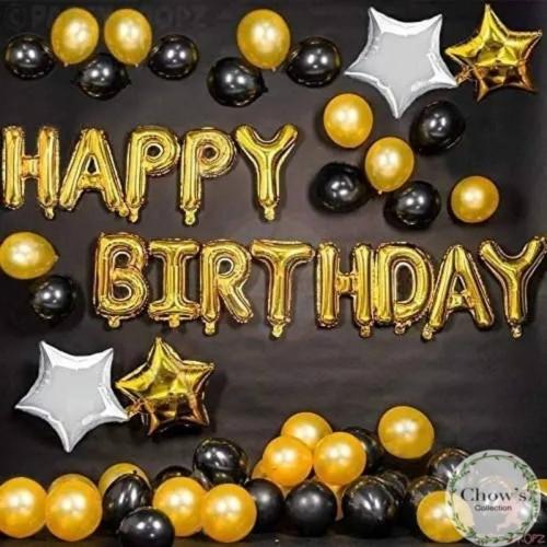 Foto Produk Paket Dekorasi Hiasan Balon Ulang Tahun / Happy Birthday Tema Gold 04 dari Chowping Store