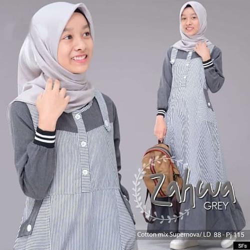 Foto Produk Gamis Anak Zahwa Dress / Gamis Remaja Wanita / Baju Muslim Anak - Grey, L dari Almoundshop