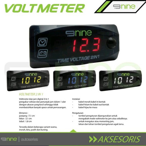 Foto Produk Voltmeter 2 in 1 Luminos 9 Nine Jam Dan Voltmeter Universal Waterproof - Merah dari Lestari Motor 2