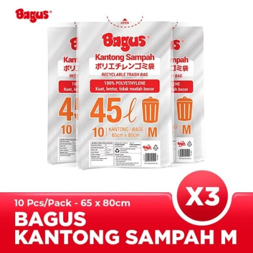 Foto Produk [Triple Packs] Bagus Kantong Sampah M 10 Uk. 65 cm x 80 cm (45 L) dari Bagus Official Store