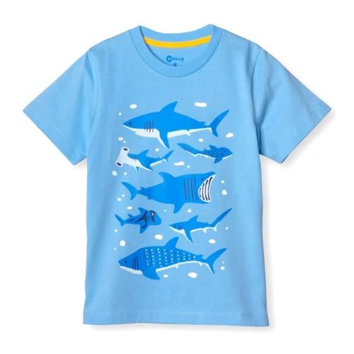 Foto Produk MOOSCA KIDS Shark Family T-shirt Kaos Anak - S dari Moosca Kidswear