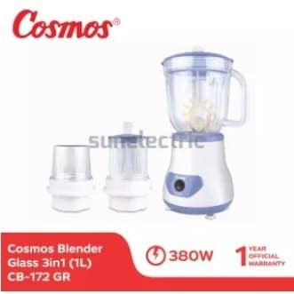 Foto Produk Cosmos CB-172 GR Blender Kaca / Glass + Dry + Wet Mill 1 Liter - Biru dari SUN ELECTRIC