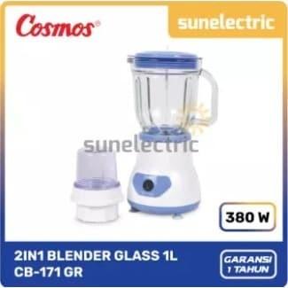Foto Produk Cosmos CB-171 GR Blender Kaca / Glass + Dry Mill 2in1 1 Liter - Biru dari SUN ELECTRIC