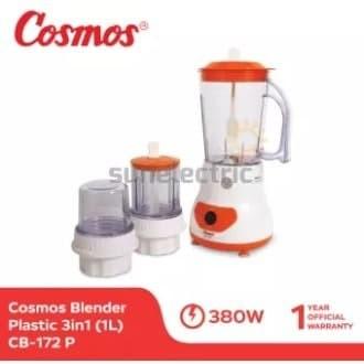 Foto Produk Cosmos CB-172 P Blender Plastik + Dry + Wet Mill 3in1 1 Liter - Orange dari SUN ELECTRIC