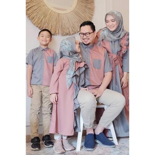 Foto Produk Koko Dewasa Lengan Pendek Pink Grey - M dari SimplyMiiOfficial