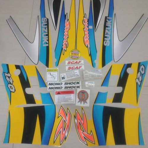 Foto Produk Striping List Body Satria Hiu 120 R 2 Tak Set Stiker Ori - Kuning Biru dari Gloria Striping & Acc.