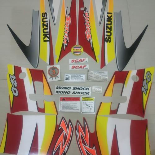 Foto Produk Striping List Body Satria Hiu 120 R 2 Tak Set Stiker Ori - Merah Putih dari Gloria Striping & Acc.
