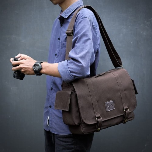 Foto Produk Tas Kamera HNX-005 Brown 2 - Sling Bag for DSLR / Mirrorless / Laptop dari HONX Store