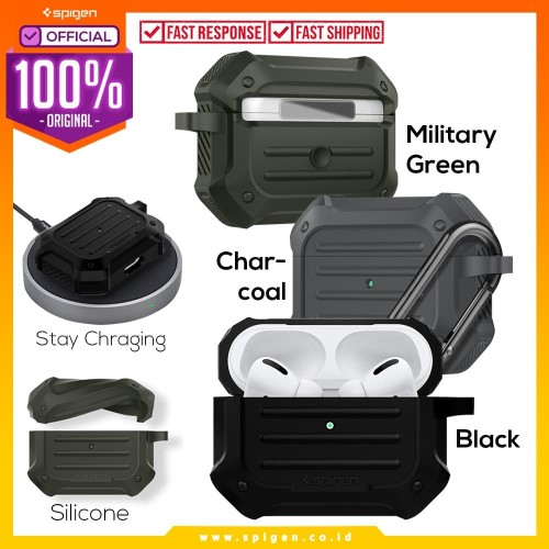 Foto Produk Apple Airpods Pro Case Spigen Tough Armor Anti Shock Original Casing - Military Green dari Spigen Official