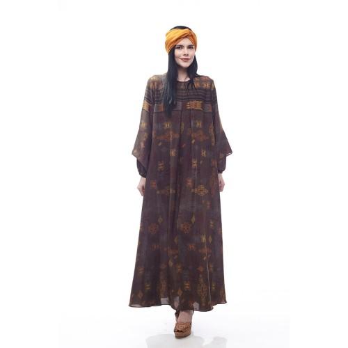 Foto Produk Mandalika by Aisaa - Gamis Lengan Lonceng - Brown - S dari Aisaa Official