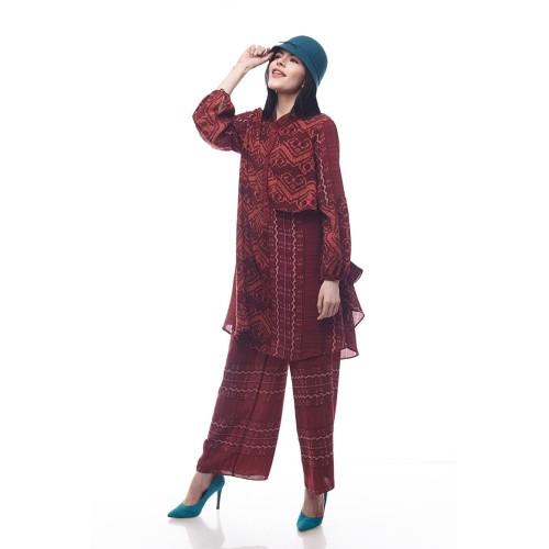 Foto Produk Sikka by Aisaa - Setelan Celana - Maroon - M dari Aisaa Official