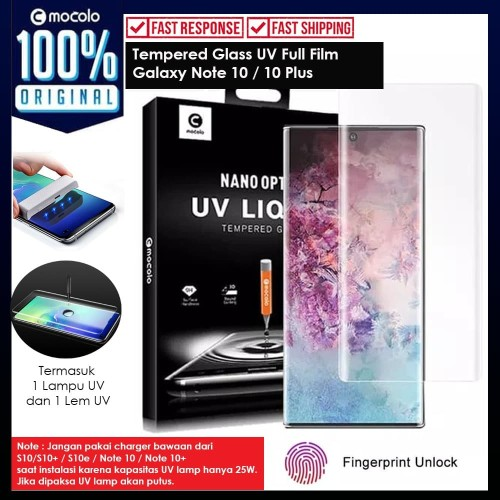 Foto Produk Tempered Glass Galaxy Note 10 Plus / Note 10 Full Cover UV Glue Mocolo - Note 10 Plus dari Unicase Store